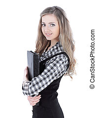 young business woman with a folder for documents.