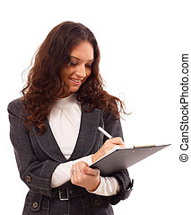 Young business woman with a map case