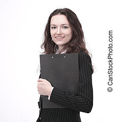 young business woman with documents. isolated on a white