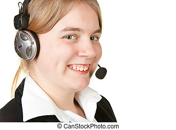 young business woman with headset isolated on white