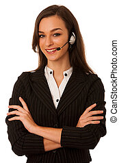 young business woman with headset isolated over white background