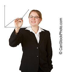 young business woman with marker isolated on white