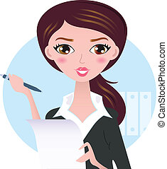 Young business woman with pen isolated on white - Office...