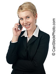 young business woman with phone