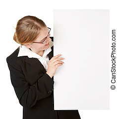young business woman with placard