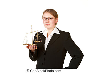 young business woman with scales
