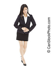 young business woman with stomach ache