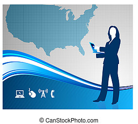 Young business woman with USA map in the background