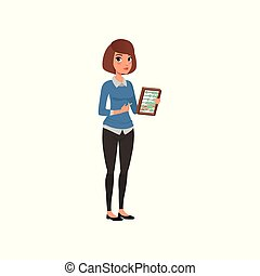 Young business woman with wooden abacus in hand. Cartoon brunette girl character in shirt under blue sweater and black pants. Financial manager. Flat vector design