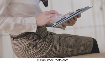 business woman working using a tablet