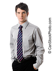 Young Businessman - A young businessman in shirt and tie on...