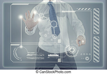 Young businessman and touch screen