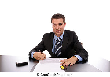 young businessman at work, isolated over white