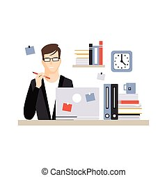 Young businessman character sitting at the desk with laptop and working, daily life of office employee vector Illustration