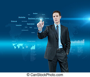 Young businessman choosing business solutions in holographic...