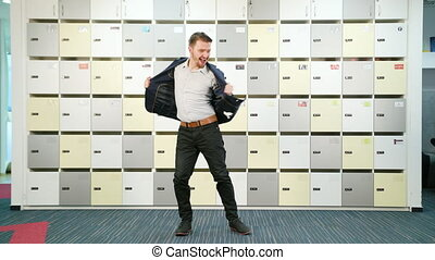 Young Businessman Dancing Indoors