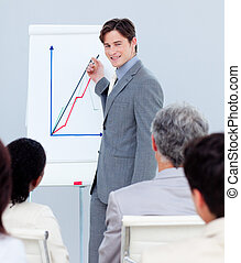 Young businessman doing a presentation