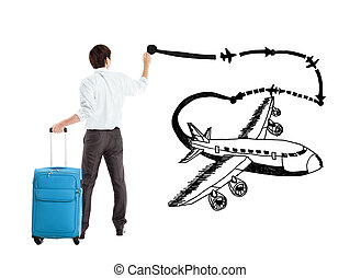 young businessman drawing airplane and airline path on the white background