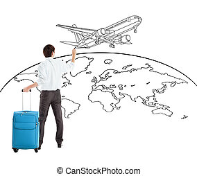 young businessman drawing airplane and world map