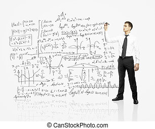 man drawing business scheme