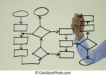 Young Businessman drawing out a block diagram on a Glass Board