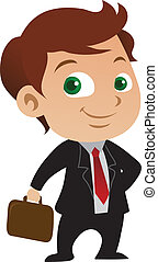 Young Businessman - Young businessman cartoon posing with a...