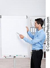 Young businessman explaining a flipchart