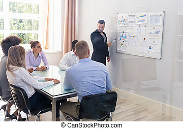 Businessman Explaining Graphs To His Colleagues