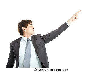 young businessman finger pointing and isolated on white