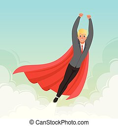 Young businessman flying with hands up on blue sky. Career advancement. Cartoon guy in suit, red tie and superhero mantle. Successful office worker. Flat vector design