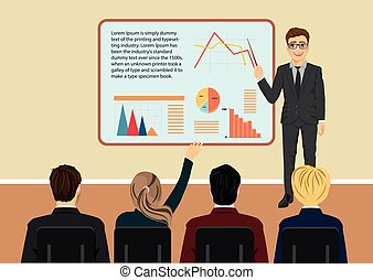 Young businessman giving presentation to some of his clients in a meeting room
