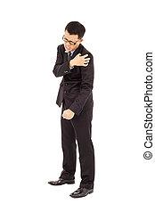 Young businessman having  shoulder pain