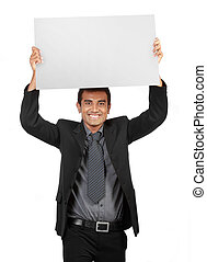 young Businessman holding a blank sign