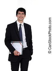 young businessman holding a folder