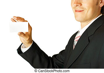 Young businessman holding blank card