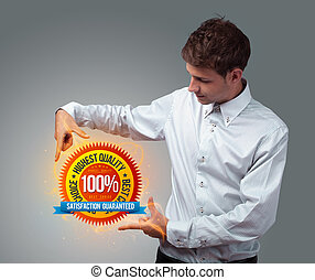 businessman holding virtual business sign