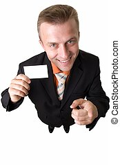 businessman holds an empty business card