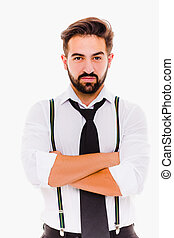 Young businessman i white shirt and black tie.