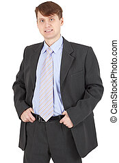 Young businessman in a business suit on white background