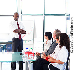 Young businessman in a presentation