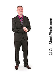 Young businessman in a suit with a big smile, isolated on...