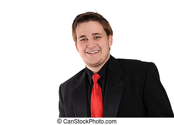 Young businessman in black formal suit smiling