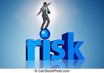 Young businessman in business risk and uncertainty concept