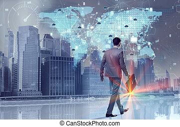 Young businessman in cloud computing concept