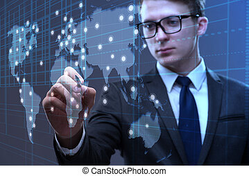 Young businessman in global business concept