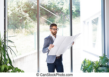 Young businessman in his office studying plans.