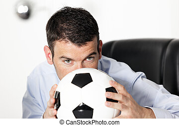 in office with ball