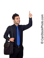 Young businessman indicating something with his finger