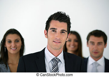 young businessman leading a team