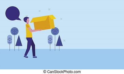 young businessman lifting box character animation - young...